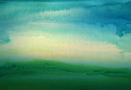 抽象的な水彩手描きの風景の背景。織り目加工のペーパー。 写真素材