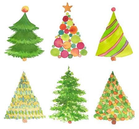 水彩画の手描きのクリスマス ツリーをセットします。テクスチャ紙。