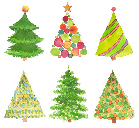 Set of watercolor hand painted Christmas tree. Texture paper.
