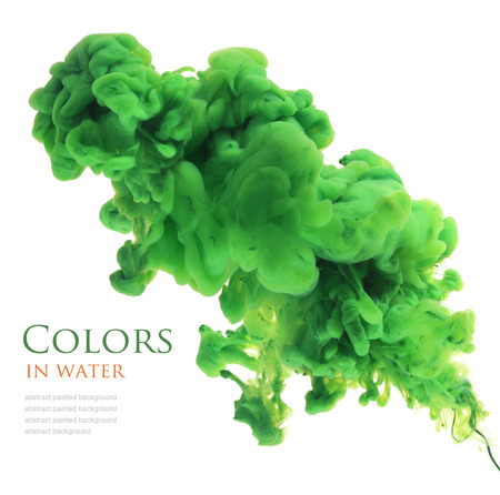 green ink: Acrylic colors in water. Abstract background.