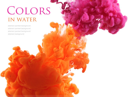 Acrylic colors in water. Abstract background. Imagens