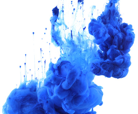 acrylics: Acrylic colors and ink in water. Abstract background. isolated on white.
