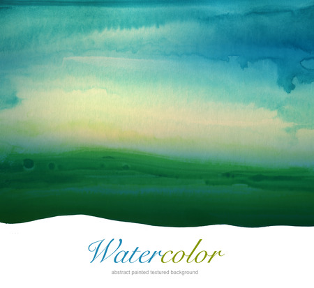 aquarelle: Abstract watercolor hand painted landscape background. Textured paper.