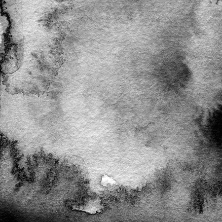 Abstract black and white watercolor painted background. Paper texture.