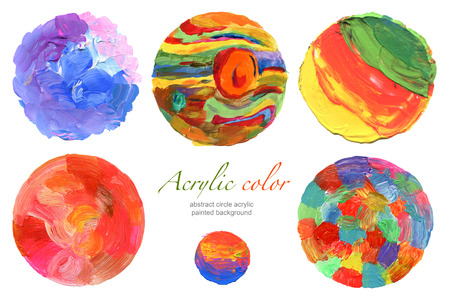 Abstract circle acrylic and watercolor painted background. photo
