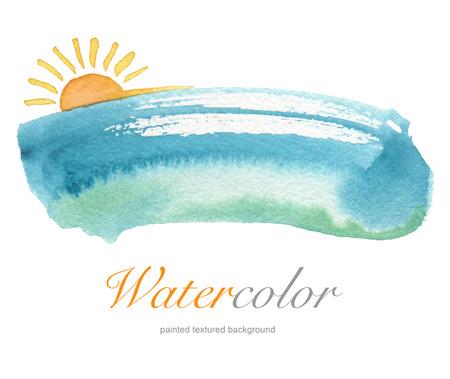 夏の水彩画の手描きの背景。織り目加工のペーパー。