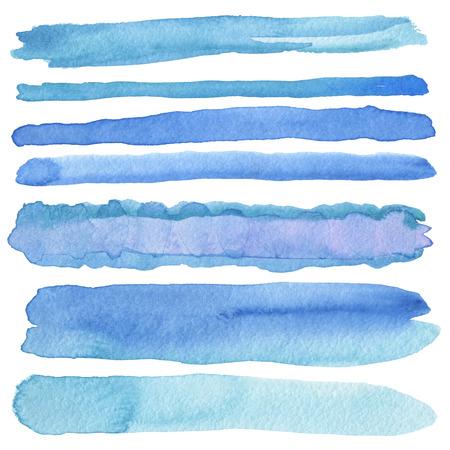 rayas de colores: Conjunto de trazos de pincel de acuarela. Aislado en blanco.