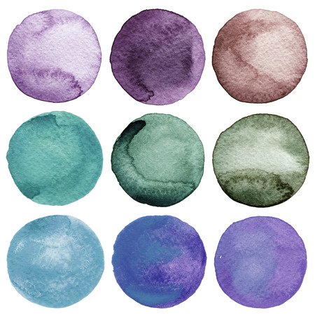 ink spot: Watercolor hand painted circles collection Stock Photo