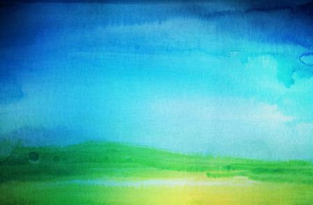 pintura abstracta: Acuarela abstracta pintada a mano paisaje de fondo. Papel con textura. Foto de archivo