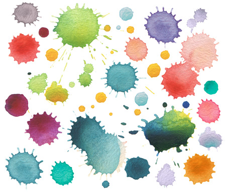 blot: Collection of watercolor blot isolated