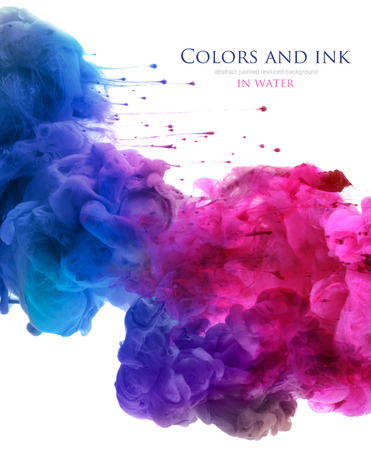banner design: Acrylic colors and ink in water. Abstract background. isolated on white.