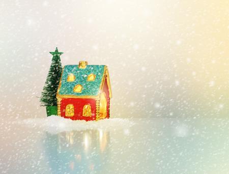 christmas house: Christmas festive light in house