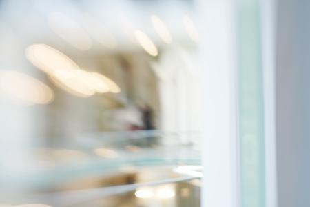 De-focuses business center interior. Blur background. Made with lensbaby. Standard-Bild