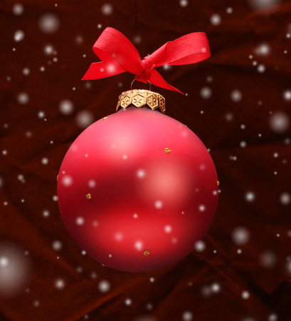 holiday tradition: Red Christmas ball Stock Photo