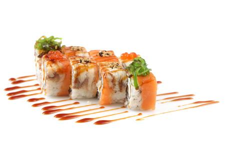 tuna mayo: Sushi rolls with banana, salmon, eel fish, wakame seaweed, red caviar on white