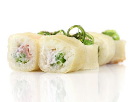 tuna mayo: Sushi hot rolls with shrimp, cheese, tuna, wakame seaweed on white Stock Photo