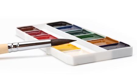 painter's palette: paint brush and color painters palette