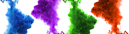 green ink: Set of acrylic colors and ink in water. Abstract background. Stock Photo