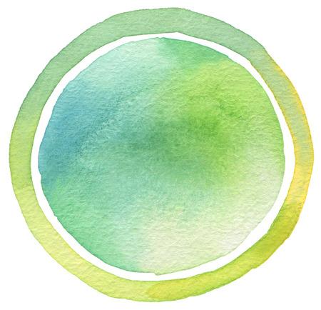 背景を描いたサークル水彩画。テクスチャ ペーパー。
