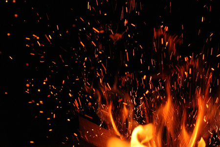 burning bonfire and spark in darc Stock Photo