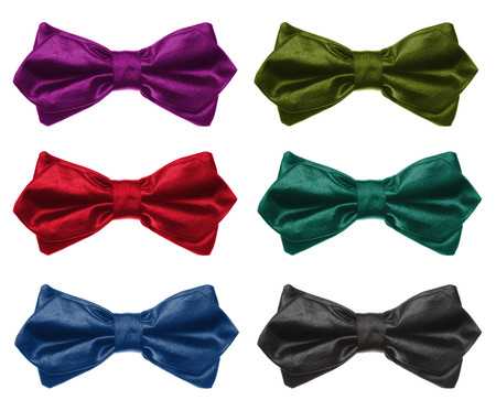 Collection of color bow tie. Isolated on white. Imagens