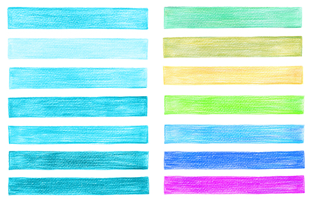 paiting: set of color pencil graphic elements