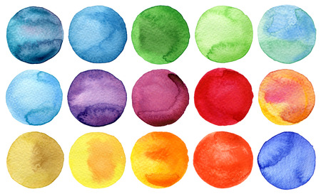 Watercolor hand painted circles collection Banque d'images