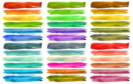 cuadros abstractos: Conjunto de coloridas pinceladas de acuarela. Aislado en blanco.
