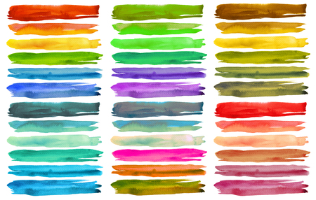abstract paintings: Set of colorful watercolor brush strokes. Isolated on white.