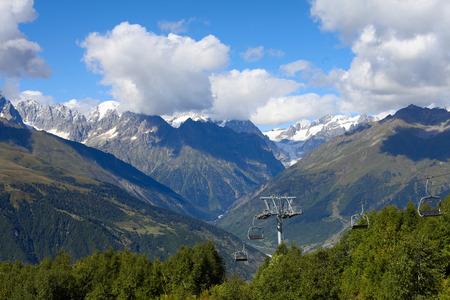 svan: Mountain cableway. Georgia, Svaneti, Mestia.