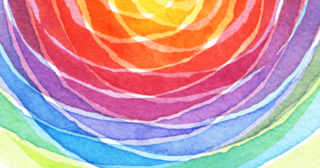 pintura abstracta: Acrylic arco iris y el círculo de fondo de la acuarela pintados. la textura del papel. Foto de archivo