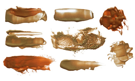 gouache: Abstract color acrylic brush strokes. Collection. Isolated.