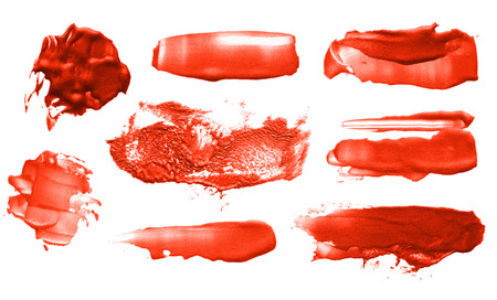 Abstract color acrylic brush strokes. Collection. Isolated.