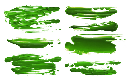 gouache: Abstract acrylic color brush strokes blots. Collection. Isolated.