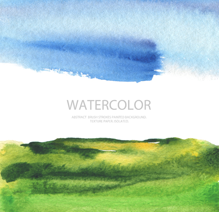 cutaway drawing: Abstract watercolor landscape painted background. Texture paper. Isolated. Business card template. Stock Photo