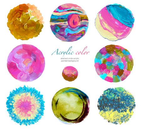 Abstract circle acrylic and watercolor painted background. Isolated.