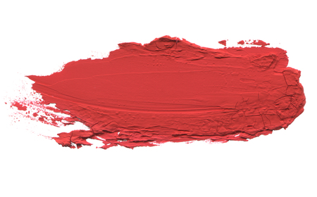 Abstract acrylic red color brush stroke. Isolated on white.
