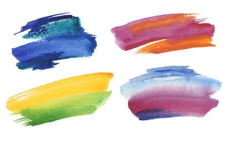 Abstract watercolor brush strokes painted background. Texture paper. Collection. Isolated. Stock Photo