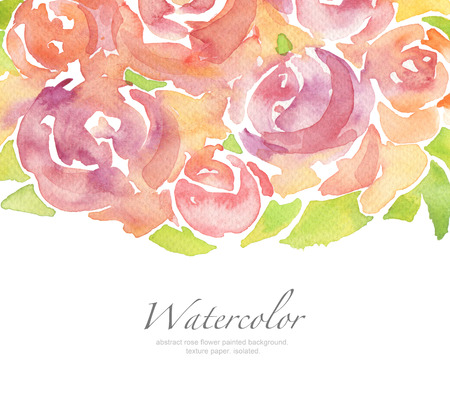brushstroke: Acrylic and watercolor rose flower painted background. Isolated. Stock Photo