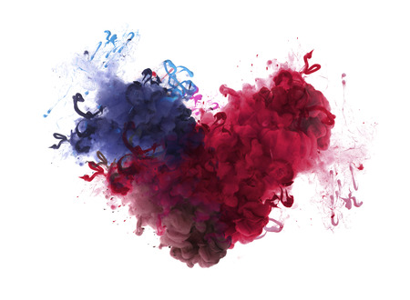 Acrylic colors in water. Ink blot. Abstract background. Isolation. Broken heart concept.