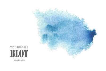 Abstract blue watercolor blot painted background. Texture paper. Isolated.