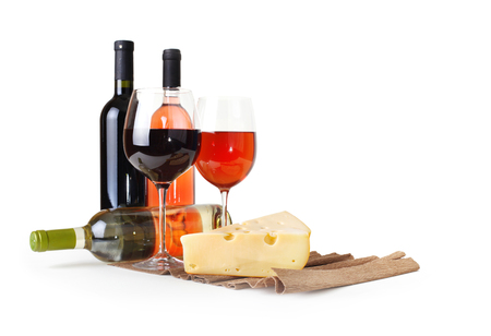 bottle of wine, wineglass and cheese