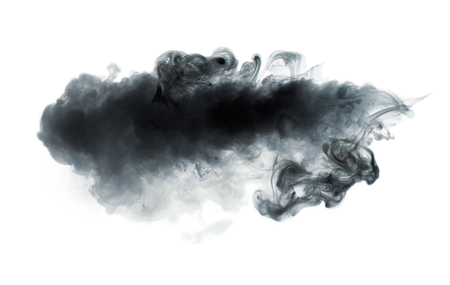 Black smoke isolated on white