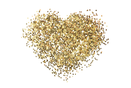 Gold glitter sequins texture isolated on white. Heart shape; Abstract background.
