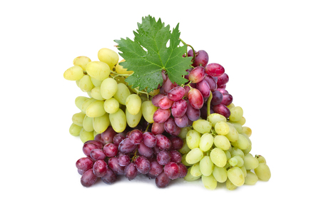 fresh rose and green grapes with leaf on white Banque d'images