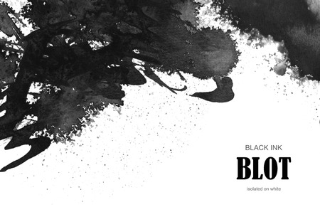Black ink blot. Isolated on white background.