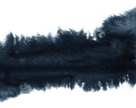 Abstract watercolor landscape blot painted background. Texture paper. Isolated on white background