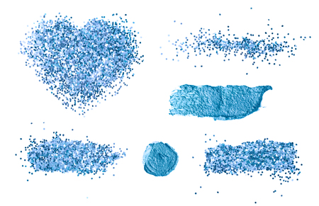 Abstract acrylic glitter brush stroke. Isolated on white background. Collection.