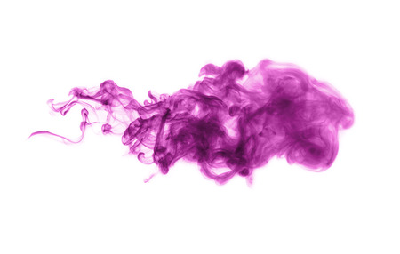 Lilac smoke isolated on white background.