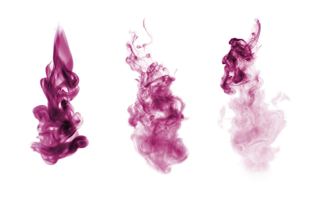 Lilac (magenta) smoke blot isolated on white background. Collection. Imagens